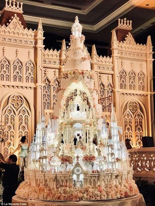 على طراز القلاع.. زوجان يصنعان أطول طبق كعك زفاف في العالم