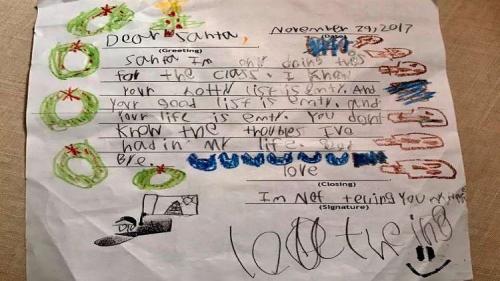 """رسالة طفل إلى بابا نويل: """"أنت لا تعلم بمشكلاتي.. وحياتك خاوية"""""""
