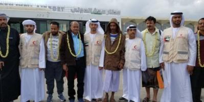 استقبال حافل من الهلال الأحمر الإماراتي للجرحى العائدين إلى مطار عدن