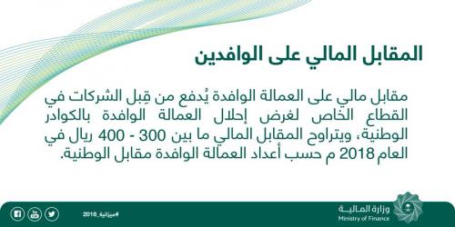 العمالة الوافدة بالسعودية تدفع 400 ريال شهريا مطلع 2018