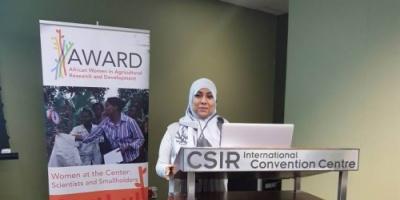 أكاديمية بجامعة عدن تمثل الإقليم العربي في اجتماع المكتب التنفيذي لمنظمة النساء، والمنتدى السنوي للعلوم في جنوب أفريقيا