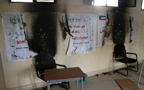 مجهولون يضرمون النار بمبنى مدرسة الصم والبكم بأبين
