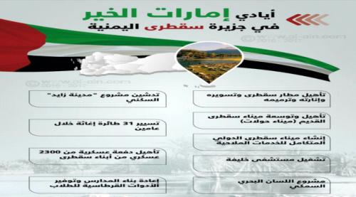 مسؤول سقطري: الحملات المشبوهة التي تحاول استهداف الإمارات ودورها الإنساني لن تصمد أمام ما يلمسه المواطنون في الجزيرة