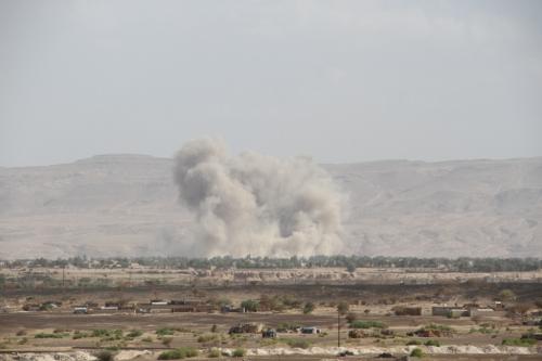 مقتل وإصابة تسعة من مسلحي الحوثي بغارة جوية استهدفت تجمعهم في البيضاء