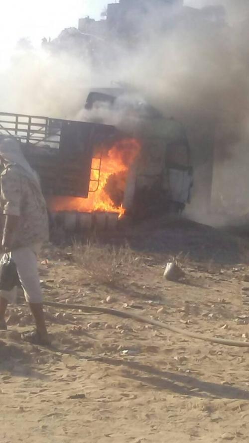 طور الباحة : انفجار قاطرة محملة بألعاب نارية ومفرقعات