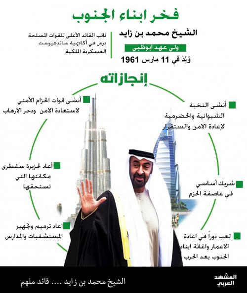 الشيخ محمد بن زايد فخر لأبناء الجنوب «انفوجرافيك»