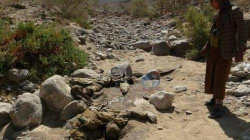تحلل عشرات الجثث لعناصر الميليشيا بعد أن تركتها في صحراء ميدي