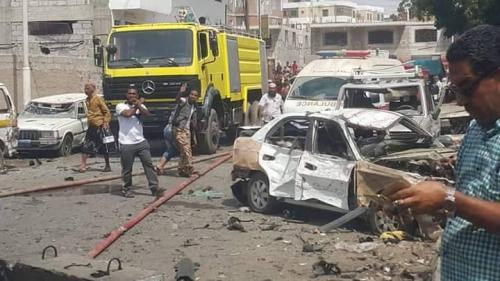 مصادر طبية:  4 قتلى وأكثر من 35 جريحاً ضحايا الهجوم الإرهابي على مطبخ الحزام الأمني بالدرين