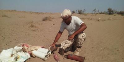 مواطن يعثرعلى «5» عبوات ناسفه في إحدى صحاري محافظة لحج