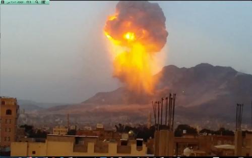 طيران التحالف العربي يدمر مخزن أسلحة للحوثيين في صنعاء