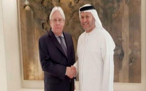 وزير إماراتي يبحث مع المبعوث الدولي الأوضاع في اليمن