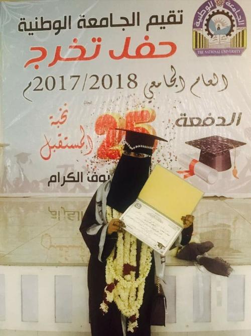 الطالبة أصالة نصر الضالعي تحقق المرتبة الاولى في كلية الصيدلة وتهدي نجاحها إلى أبناء وأمهات الشهداء