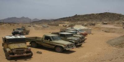 قوات النخبة الشبوانية  تضبط عدد من سيارات تهريب الافارقة بالقرب من منطقة الرحيل