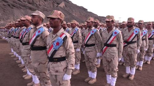 صور.. بحضور قيادات من المجلس الانتقالي اللواء الاول  مشاة  يحتفي بتخرج دفعة عسكرية جديدة