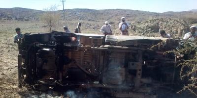 مصادر : 3 من تنظيم القاعدة كانوا على متن السيارة التي استهدفتها طائرة من دون طيار في مرخة بشبوة