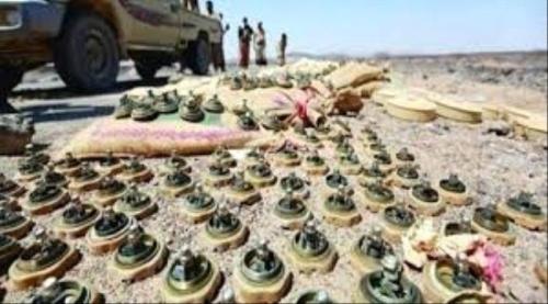 الجيش الوطني يتلف كميات من الألغام والمتفجرات في جبهة البقع