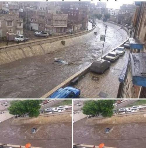"""سيول في """"صنعاء"""" تتسبب بجرف العديد من المواطنين والمركبات"""