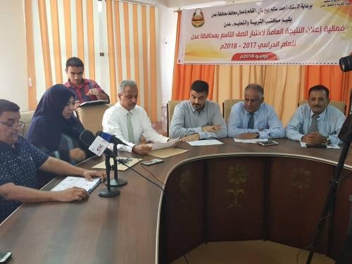 اعلان النتيجة العامة لاختبار الصف التاسع للعام الدراسي 2017 _2018 م بمحافظة عدن بنسبة نجاح 86.0 %