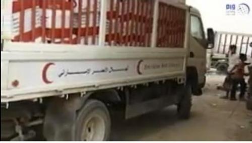 """"""" الهلال الأحمر الإماراتي """" يسير قافلة مساعدات إغاثية عاجلة لأهالي الجبلية في الحديدة"""