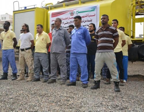 برعاية مدير أمن عدن ودعم من دولة الإمارات  مصلحة الدفاع المدني تنظم  دورة تدريبية لإطفائيين من عدن وحضرموت