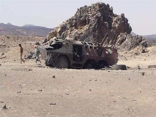 مقاتلات التحالف العربي تدمر عربة عسكرية للمليشيا في القبيطة شمالي لحج