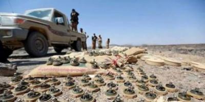القوات الحكومية تفكك شبكة ألغام وعبوات ناسفة زرعتها المليشيا شمال لحج