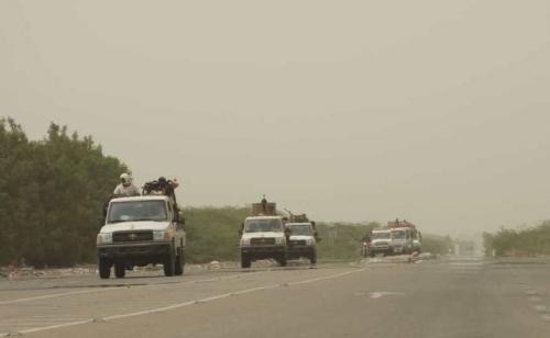 شاهد بالصور ..  قوات العمالقة تدفع بقوات ضخمة الى الدريهمي