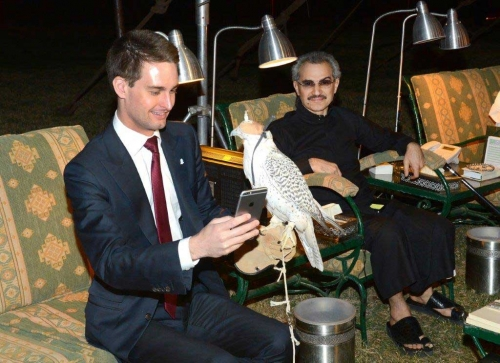 الأمير الوليد بن طلال يستثمر 950 مليون ريال سعودي في سناب شات مقابل 2.3% من أسهم الشركة