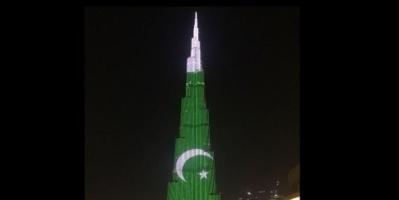 برج خليفة يتزين بألوان علم باكستان احتفالاً بيوم استقلالها