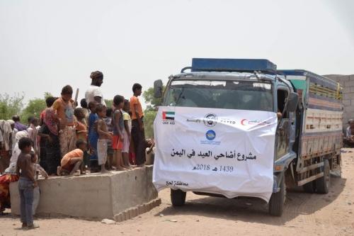 """بدعم من  """"جمعية الفجيرة الخيرية""""  الهلال الإماراتي توزع أضاحي العيد لنازحي الحديدة في مخيمات لحج (صور )"""