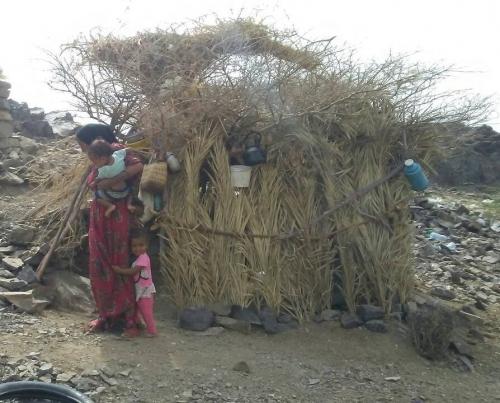 360 أسرة نازحة في موزع بتعز تعيش في العراء