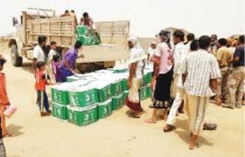 مركز الملك سلمان للإغاثة يوزع 18 طناً من المواد الغذائية بحجة