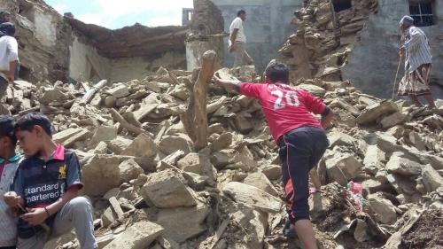 انهيار 5 منازل في يافع بسبب الأمطار