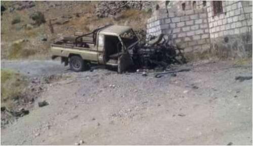 تدمير آليات عسكرية حوثية في قصق للتحالف على مواقع المليشيا بالبيضاء