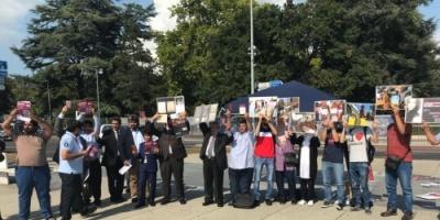 شاهد.. وقفة احتجاجية لقبيلة الغفران ضد نظام قطر في جنيف