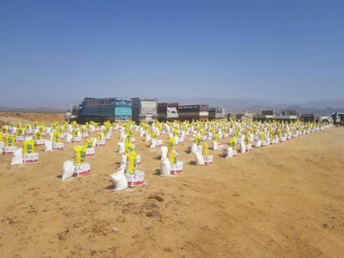 الهلال الأحمر الإماراتي يوزع 1500سلة غذائية على أهالي المحفد