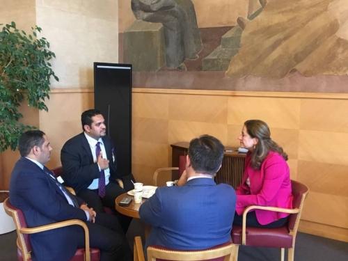 وزير حقوق الانسان اليمني  يلتقي سفير هولندا في سويسرا