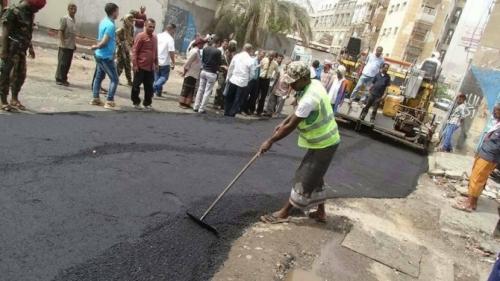 استمرار أعمال رصف الشوارع الداخلية لمديرية دار سعد بعدن