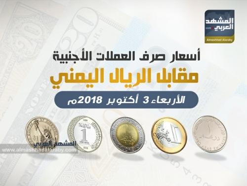 أسعار صرف العملات الأجنبية مقابل  الريال اليمني وفقاً لتعاملات  اليوم الأربعاء 3 أكتوبر 2018