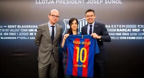 نادي برشلونة يهنئ نادية مراد بحصولها على جائزة نوبل للسلام