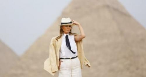 السر في القبعة.. ميلانا ترامب في الهرم على طريقة أنديانا جونز وزاهي حواس