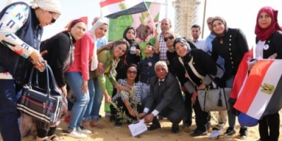 بالصور.. غرس 100 شجرة بأسماء شهداء الجيش المصري في الحرب على الإرهاب
