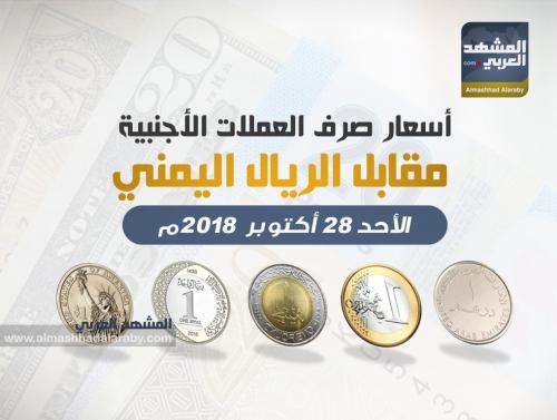 أسعار صرف العملات الأجنبية أمام الريال اليمني وفقاً لتعاملات صباح  اليوم الأحد 28 أكتوبر 2018