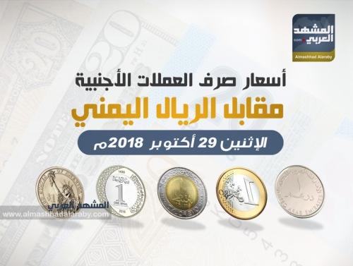 أسعار صرف العملات الأجنبية مقابل الريال اليمني وفقاً لتعاملات اليوم الإثنين 29 أكتوبر 2018