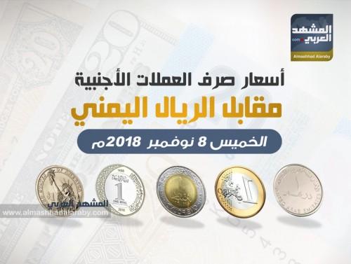 أسعار صرف العملات الأجنبية أمام الريال اليمني وفقاً لتعاملات اليوم الخميس 8 نوفمبر 2018
