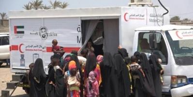 الهلال الأحمر الإماراتي يقدم خدمات طبية لـ4500 شخص بالخوخة