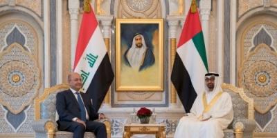 """"""" بن زايد """" يبحث القضايا الإقليمية مع الرئيس العراقي"""