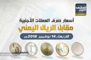 أسعار صرف العملات الأجنبية مقابل الريال اليمني وفقاً لتعاملات اليوم الأربعاء 14 نوفمبر 2018