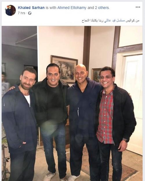 شاهد نضال الشافعي وخالد سرحان في كواليس مسلسل قيد عائلي