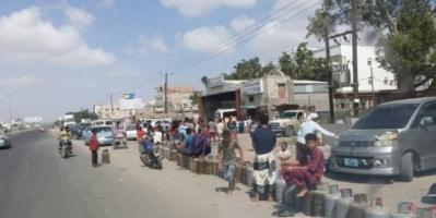 إقبال كبير من المواطنين على محطات الغاز في لحج «صور»